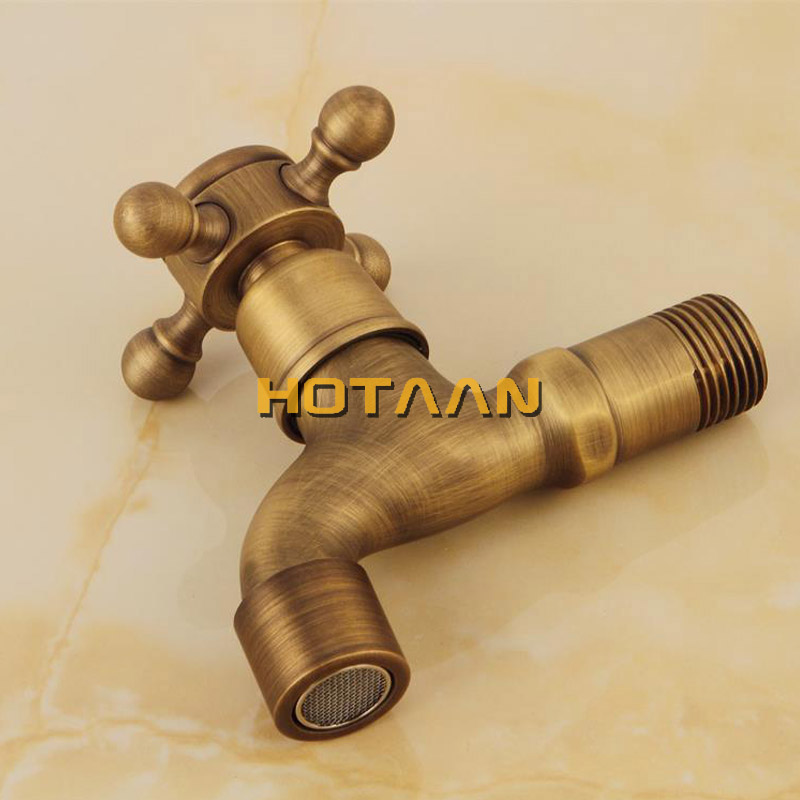 Long garden use Bibcock faucet tap crane Antique Brass Finish Bathroom Wall Mount Washing Machine Water Faucet Taps YT-5112-B