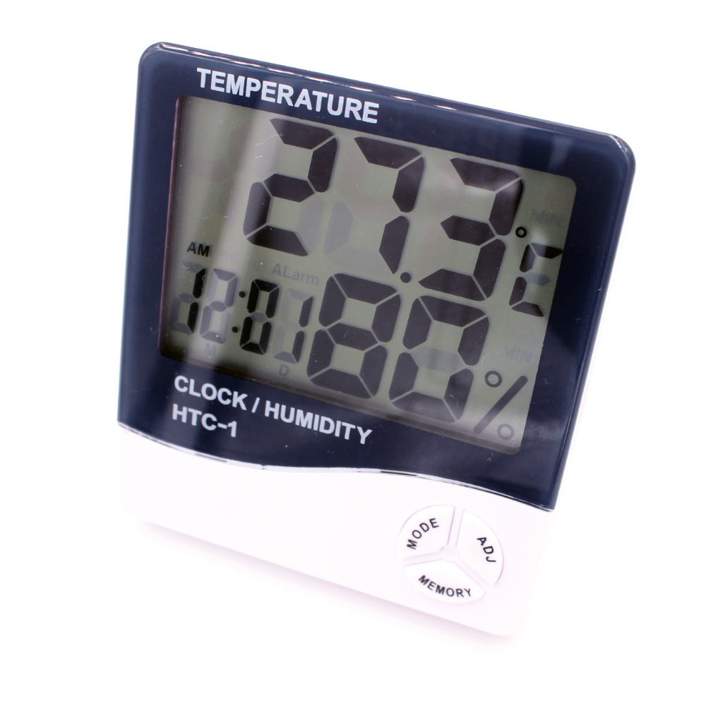 HTC-1 Electronic Temperature Humidity Meter Indoor Room LCD Digital Thermometer Hygrometer Weather Station Alarm Clock