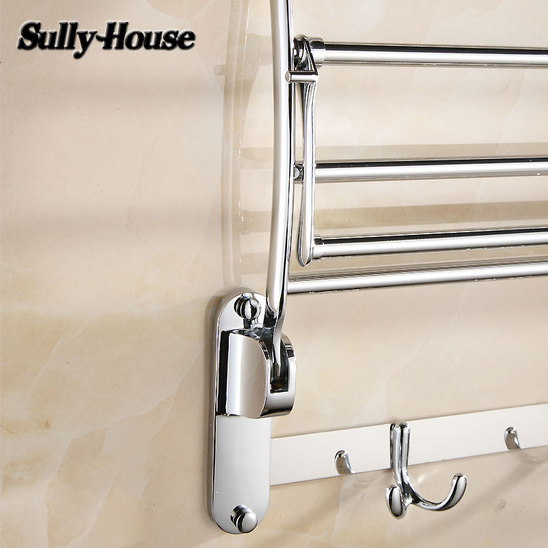 Sully House Stainless Steel Bathroom Folding Towel Racks,Double Bath Towel Holder with Robe Hook,Shower room Chrome Towel Shelf