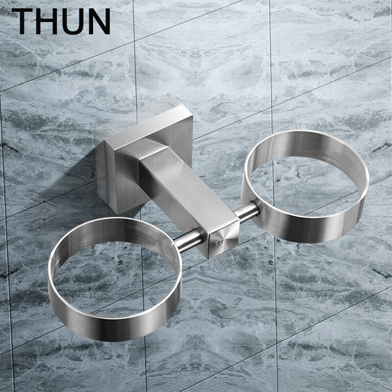 THUN 304 Stainless Steel Cup Holder Glass Cups Bathroom Accessories Toothbrush Tooth Cup Square  Holder