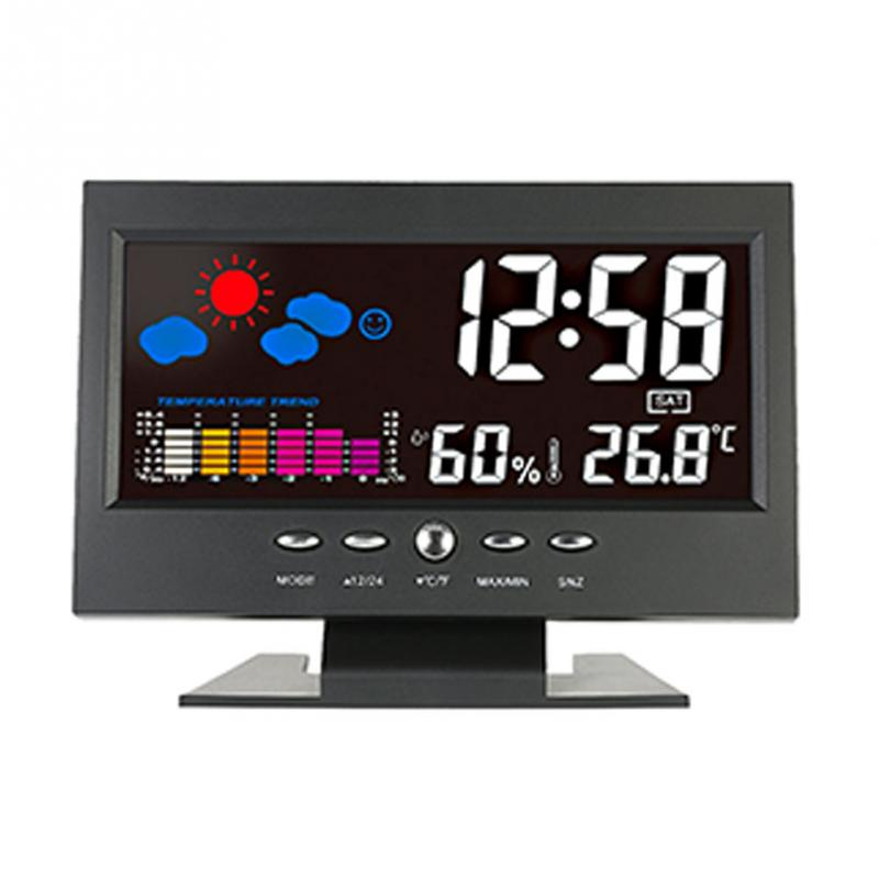 blackTemperature and humidity clock with LCD Clock display switchable Measuring temperature and humidity weather station