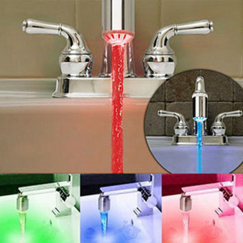 Novelty 7 Color Auto RGB Colorful LED Light Water Glow Faucet Tap Head Tool