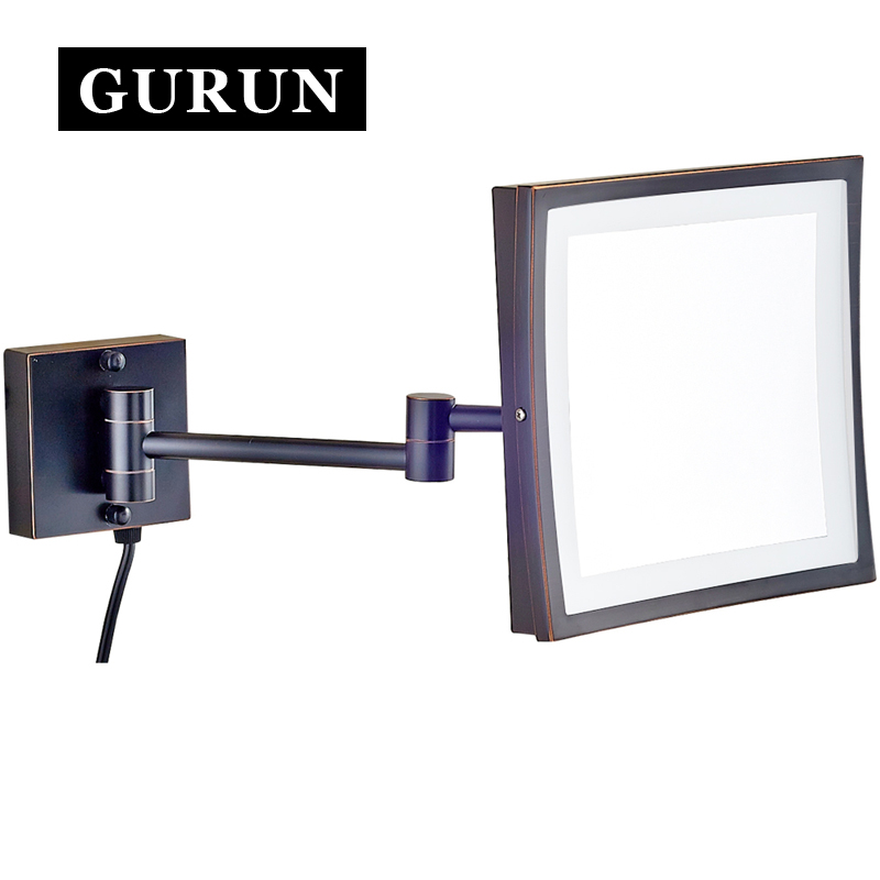Gurun LED Makeup Mirror -8 Inch Cosmetic Mirror Wall Mounted  3X magnifying bathroom makeup mirror with light LED  M1802DORB