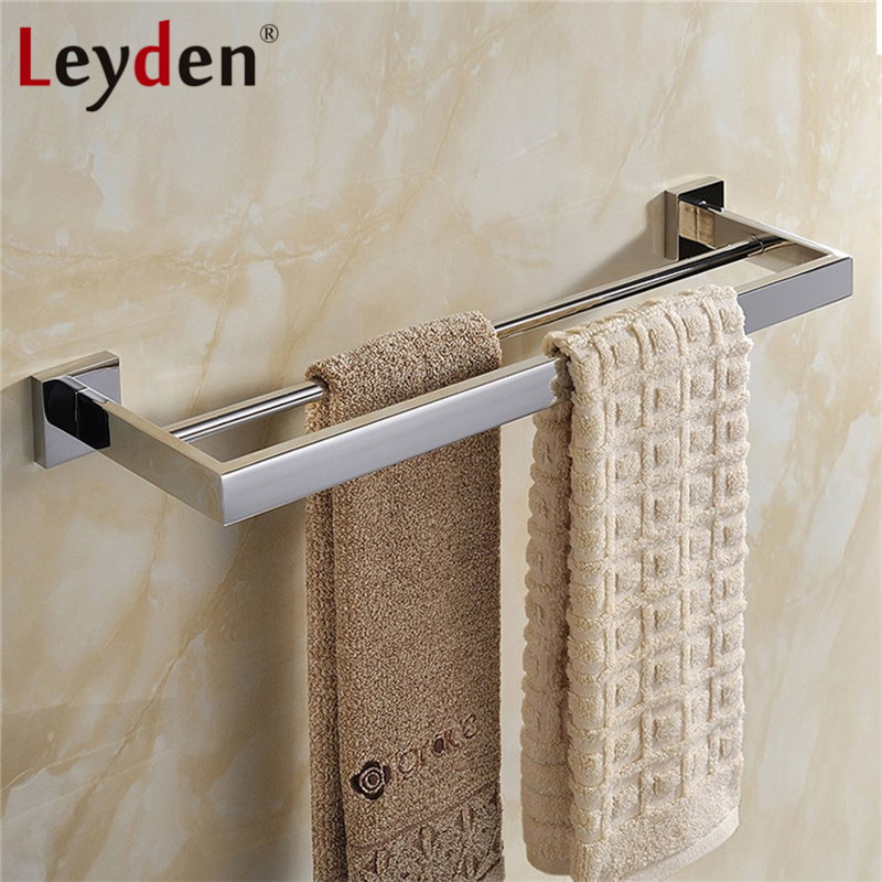Leyden Double Square Towel Bar Wall Mounted 304 SUS Stainless Steel Towel Holder Bath Modern Towel Rail Bathroom Accessories