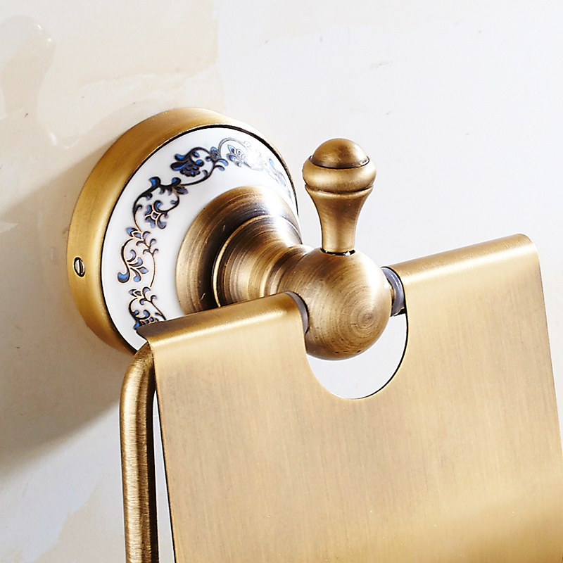 FLG Antique Bronze Toilet Paper Holder Brushed Ceramic Base Tissue Box Roll Holder Space Aluminum Bathroom Accessories