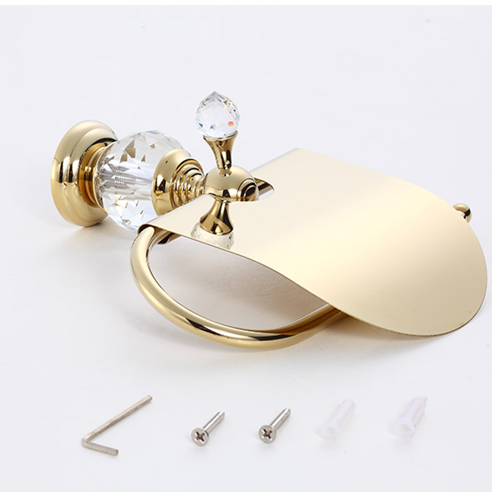 Luxury crystal brass gold paper box roll holder toilet gold paper holder tissue box Bathroom Accessories bath hardware