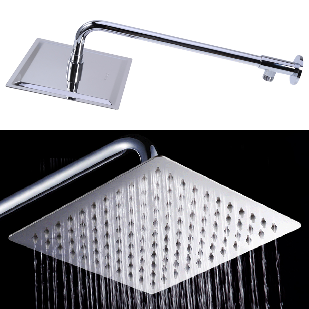 8 inch Fashion Square Stainless Steel Shower Head Set Ultra-thin Showerheads Large Rainfall Shower Head Kit with Extension Arm