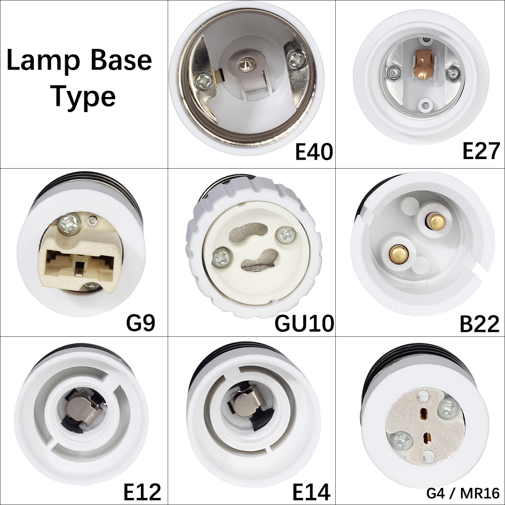 1PCS E27 Male to E14 G9 E12 B22 G4 MR16 GU10 E40 Female Lamp Base Lamp Holder Converter Socket Adapter For LED Corn Bulb light