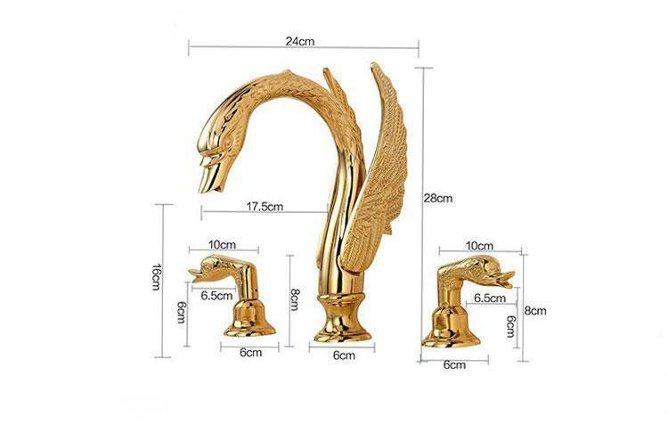 Deck Mounted Bathroom Faucet Swan Basin Sink Mixer Tap Golden Brass 3 Holes Basin Faucet Wholesale And Retail water tap