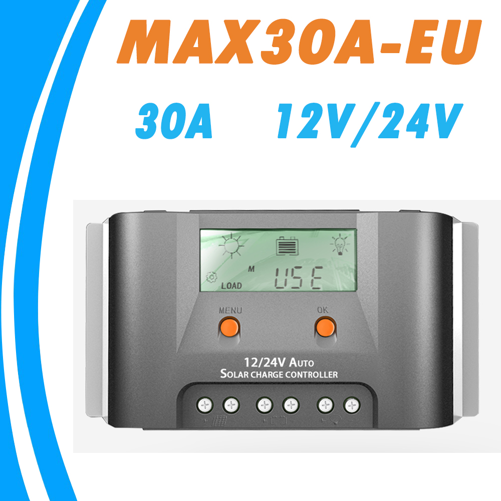 30A Solar Charge Controller 12V 24V LCD Regulator Heat Sink External Temperature Sensor Real-time Energy Statistics Dual 5V USB