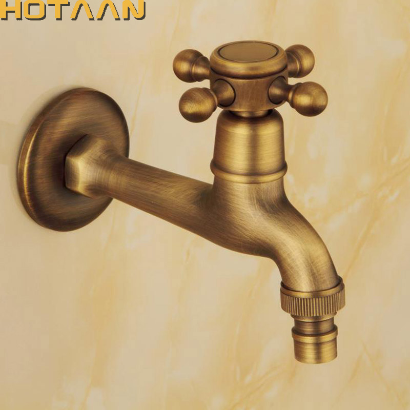 Long garden use Bibcock faucet tap crane Antique Brass Finish Bathroom Wall Mount Washing Machine Water Faucet Taps YT-5158-A