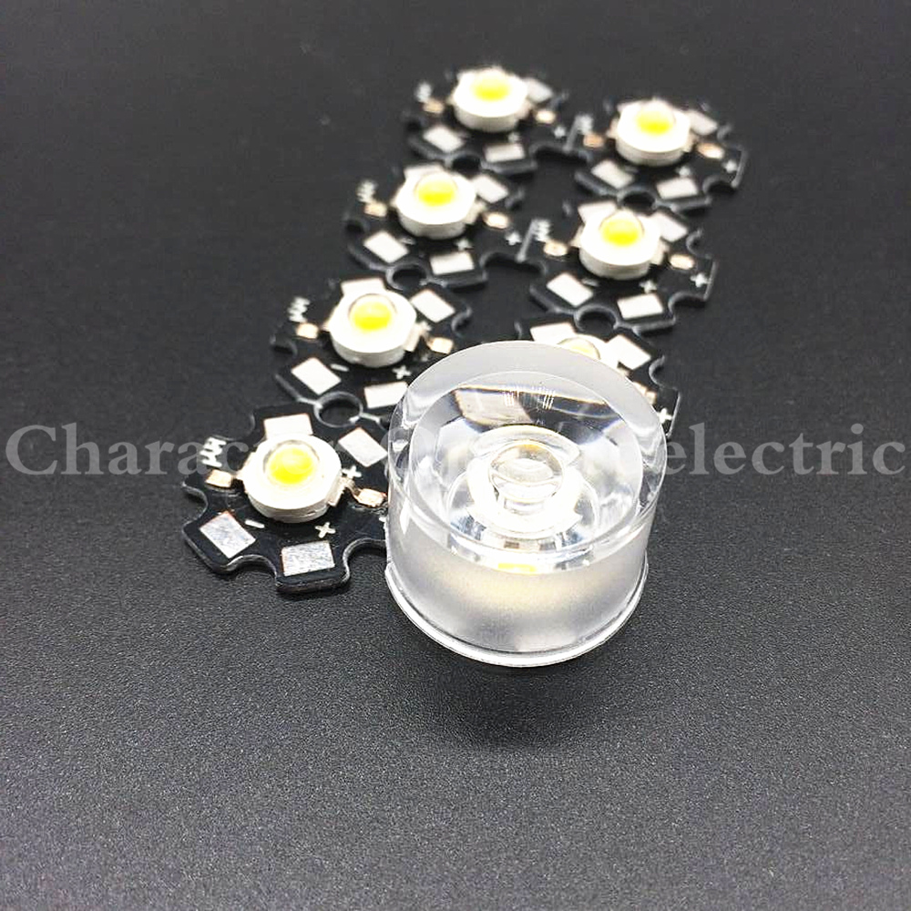 20PCS LED Waterproof Lens Angle 15 30 45 60 90 120 Degree 1W 3W High Power LED Wall Washer Lamp 20mm Acrylic Lenses With Bracket