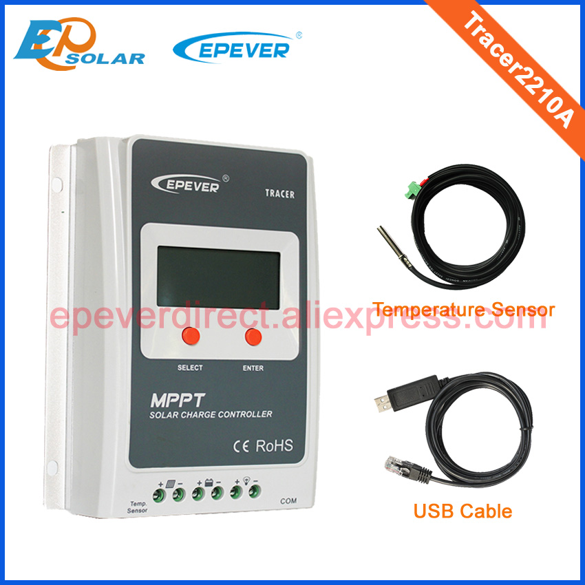 Tracer2210A Solar battery charger mppt controller with USB and temperature sensor 20A 20amp