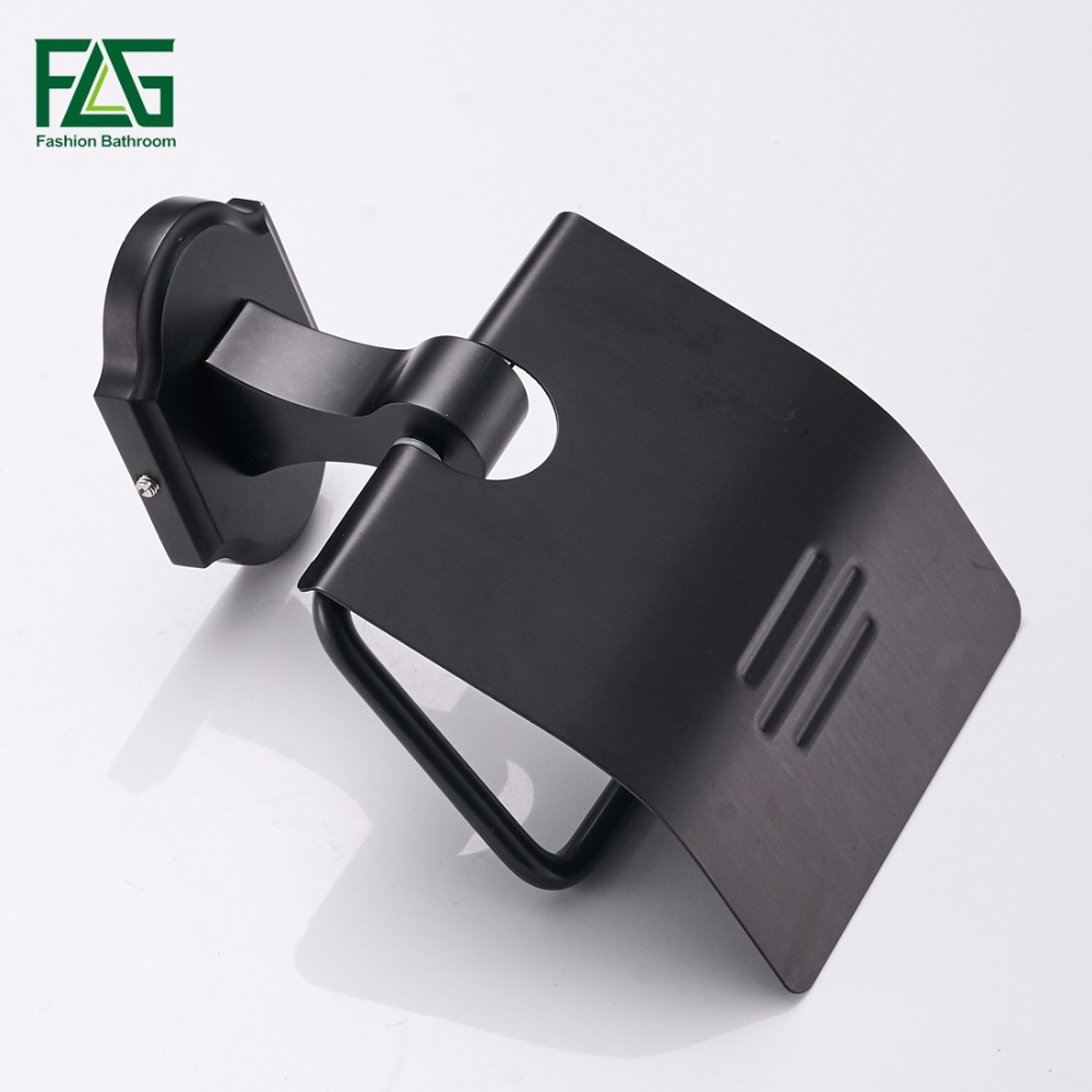 FLG Toilet Paper Roll Holder Wall Mount Space Aluminum Rack toilet paper holder Black Finish Paper Holder Bathroom Accessories