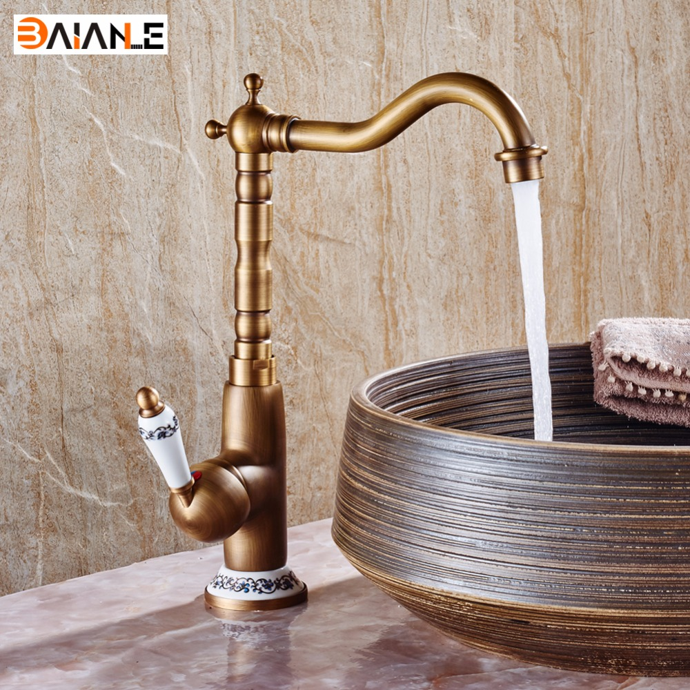 360 Swivel Hot and Cold Bathroom Heightening Antique Kitchen Sink Faucets Brass Porcelain Base Basin Faucet Mixer Tap