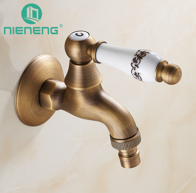 Nieneng Retro Laundry Bibcock Faucet Brass Wall Mounted Washing Machine Outdoor Tap Garden Faucet Bathroom Mixers ICD60507