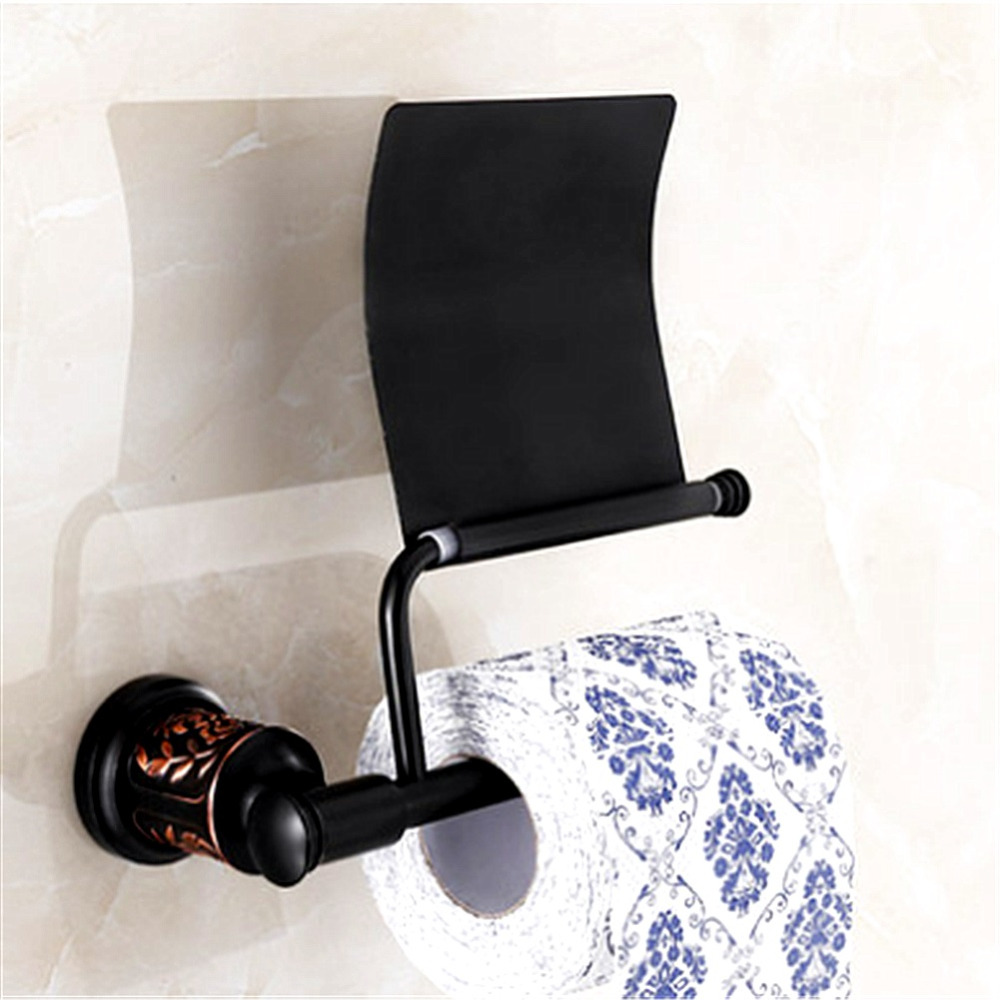 AUSWIND European Black Oil Bronze Carved Base Paper Holder Brass Wall Mount Bathroom Hardware Sets EB7
