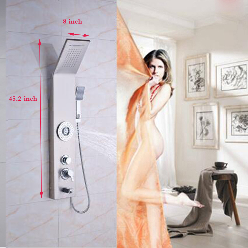 POIQIHY Big promotion stainless steel Shower Panel Rainfall & Waterfall With Massage Body Jets Tub Mixer Tap