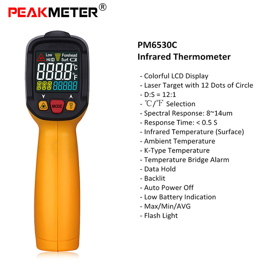 PEAKMETER PM6530C Non-contact Digital Infrared Thermometer Temperature Gun LED Screen colorful display Industrial/Home Multi Use