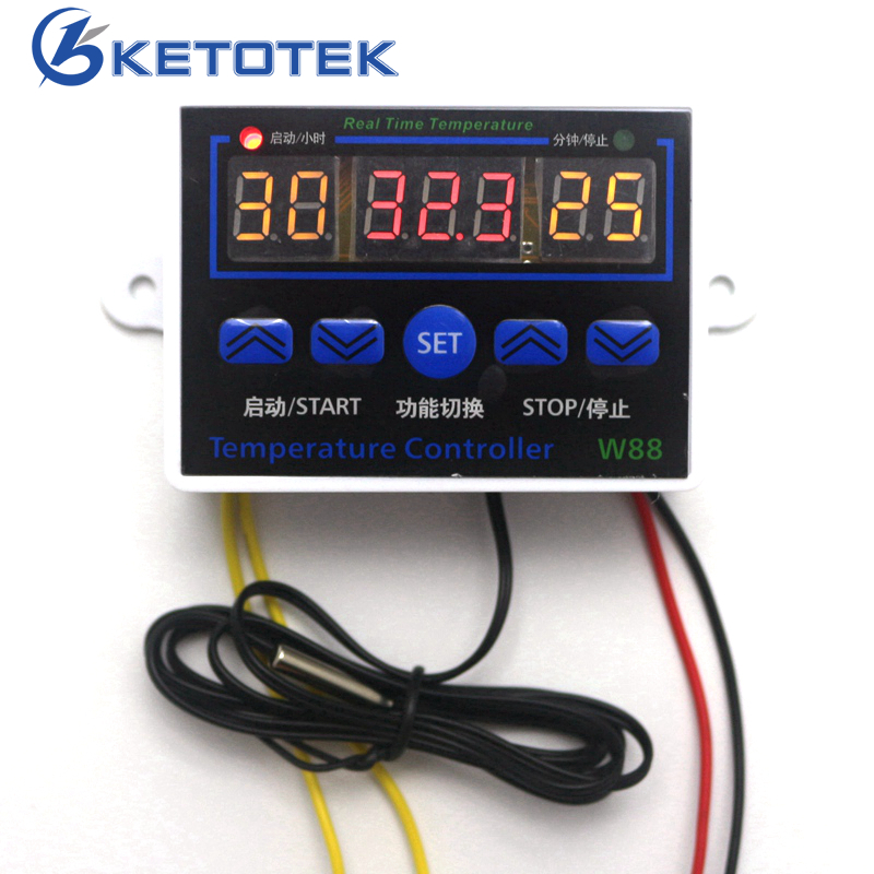 W88 Digital Thermostat 12V 24V 220V Temperature Controller Temperature Control Switch -19~99C Output 10A 220V AC