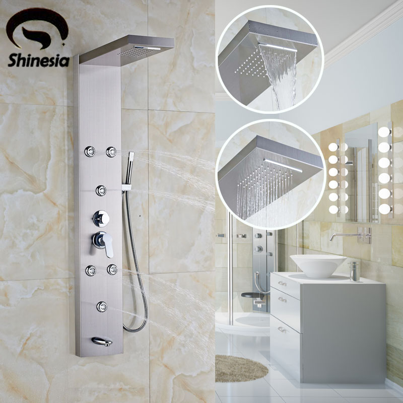 Nickel Brushed Stainless Steel Shower Faucet Sets Waterfall Shower Head Shower Panel with Hand Shower Wall Mount