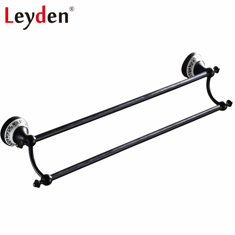 Leyden Double Towel Bar ORB Antique White Porcelain with Flower Base Brass Wall Mounted Pendants Towel Rack Bathroom Hardware