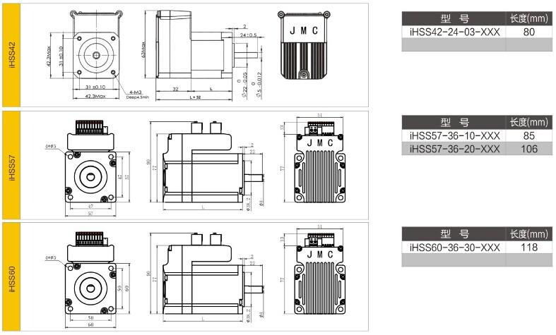 180W 3000rpm 0.57Nm Integrated Servo Motor NEMA23 36VDC JMC