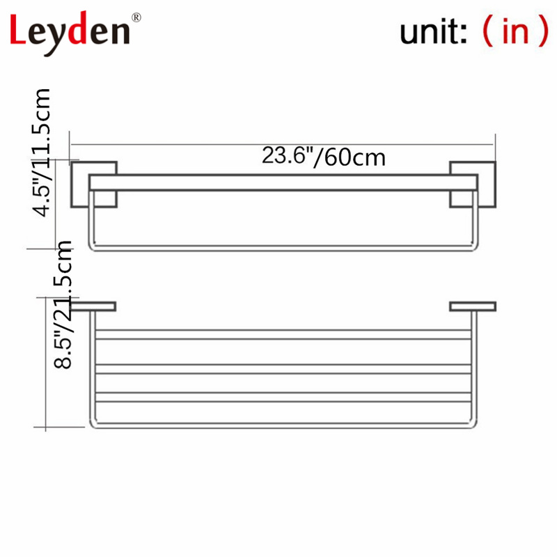 Leyden Stainless Steel Polished Chrome Towel Hanger Towel Rack Single Layer Towel Holder with Bar Wall Mounted Bathroom Hardware