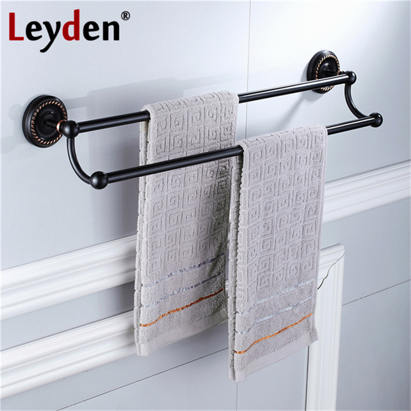 Leyden High Quality Antique Brass Double Towel Bar Toilet Towel Bar Rack Holder Wall Mount Towel Bar Hanger Bathroom Accessories