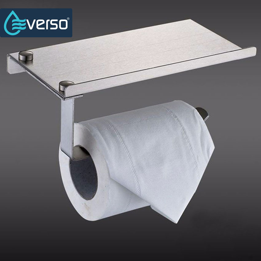 Stainless Steel Toilet Paper Holder With Shelf Toilet Roll Holder Wall Mounted Towel Rack WC Paper Holder Papier Toilette