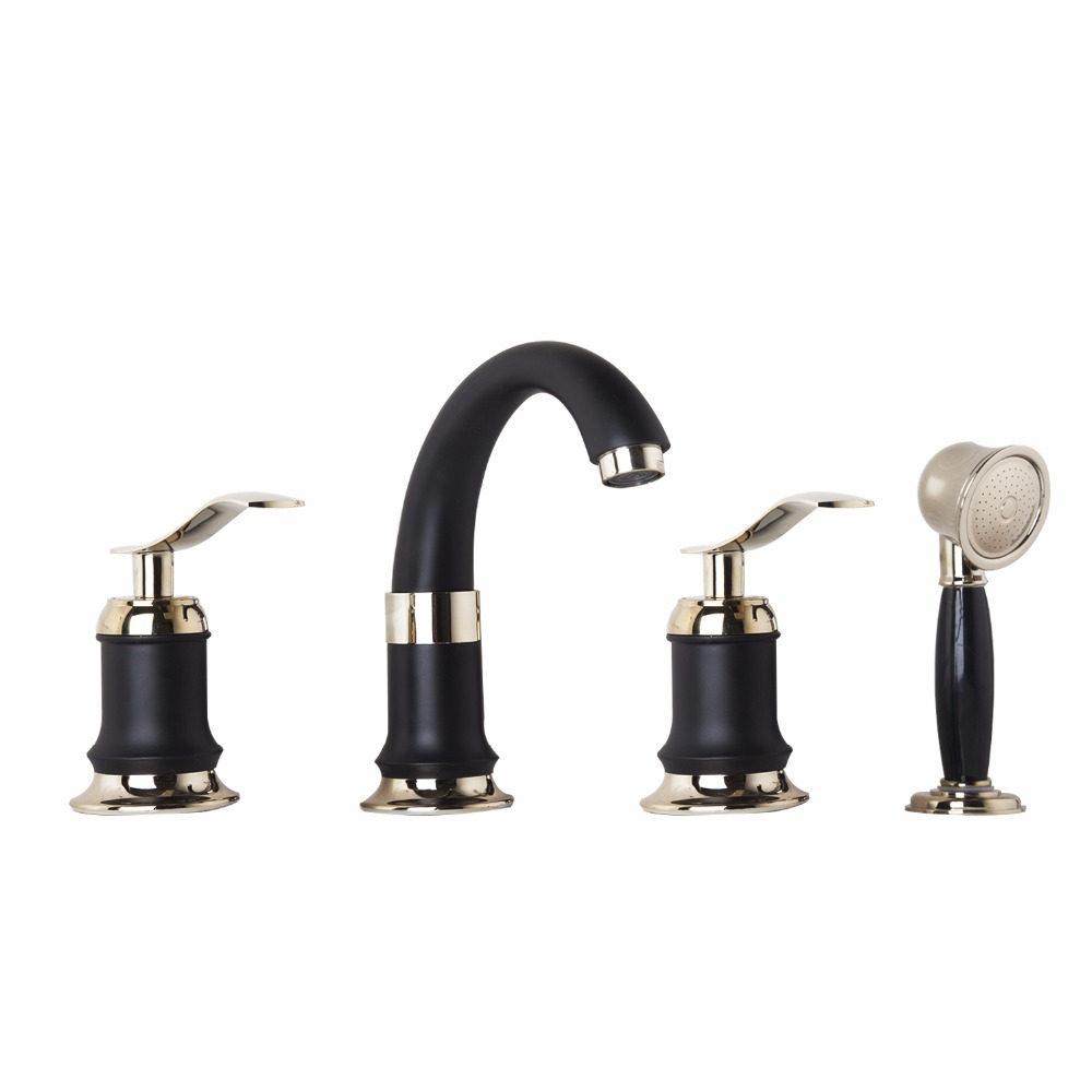 Double Handles Black Golden-Plated 4 Pieces  Bathroom Wash Basin Sink Brass Vessel Bathtub Torneira Tap Mixer Faucet