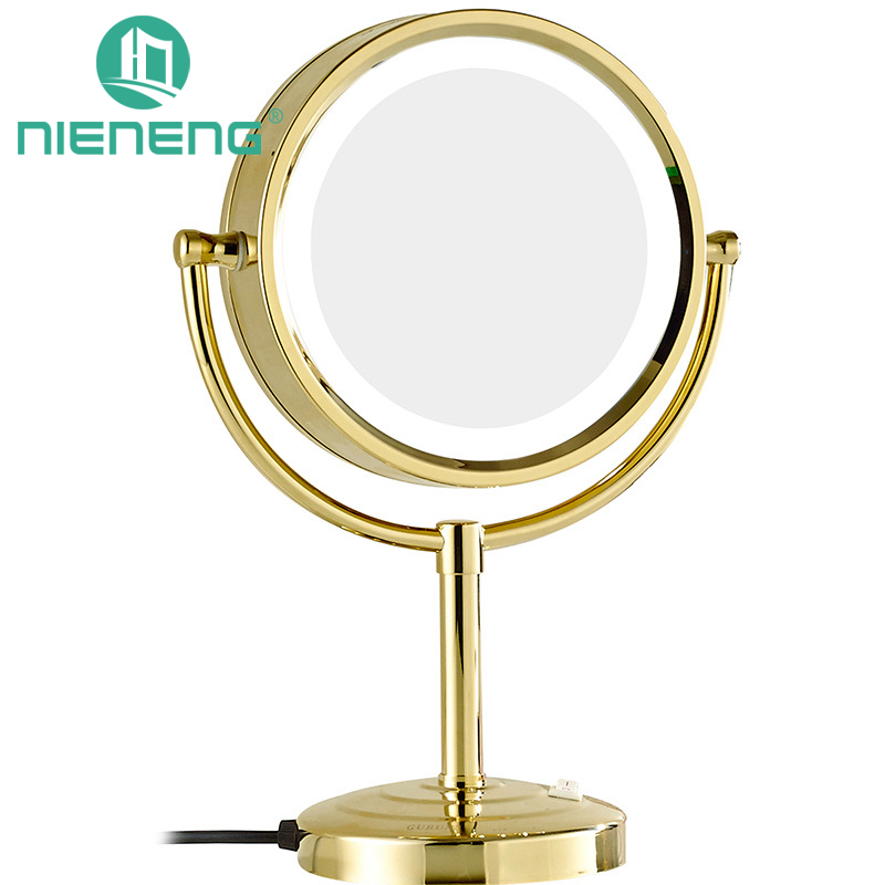 Nieneng Makeup Mirrors LED Cosmetic Table Stand Double Side LED Light Mirror 3X 10X Bath Make Up Mirror Bathroom Mirror ICD60528