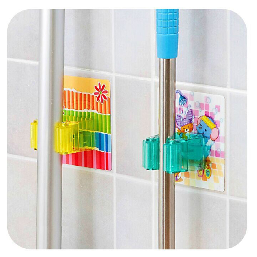 MAXSWAN Traceless Sucker Hook Mop Holder Wall Mounted Kitchen Bathroom Suction Cup Rag/Broom/Mop Rack Storage Holder