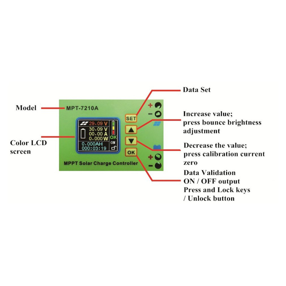 MPPT-7210A Solar Panel Battery Regulator Charge Controller With LCD Color Display 48V 10A With DC-DC Boost Charge Function