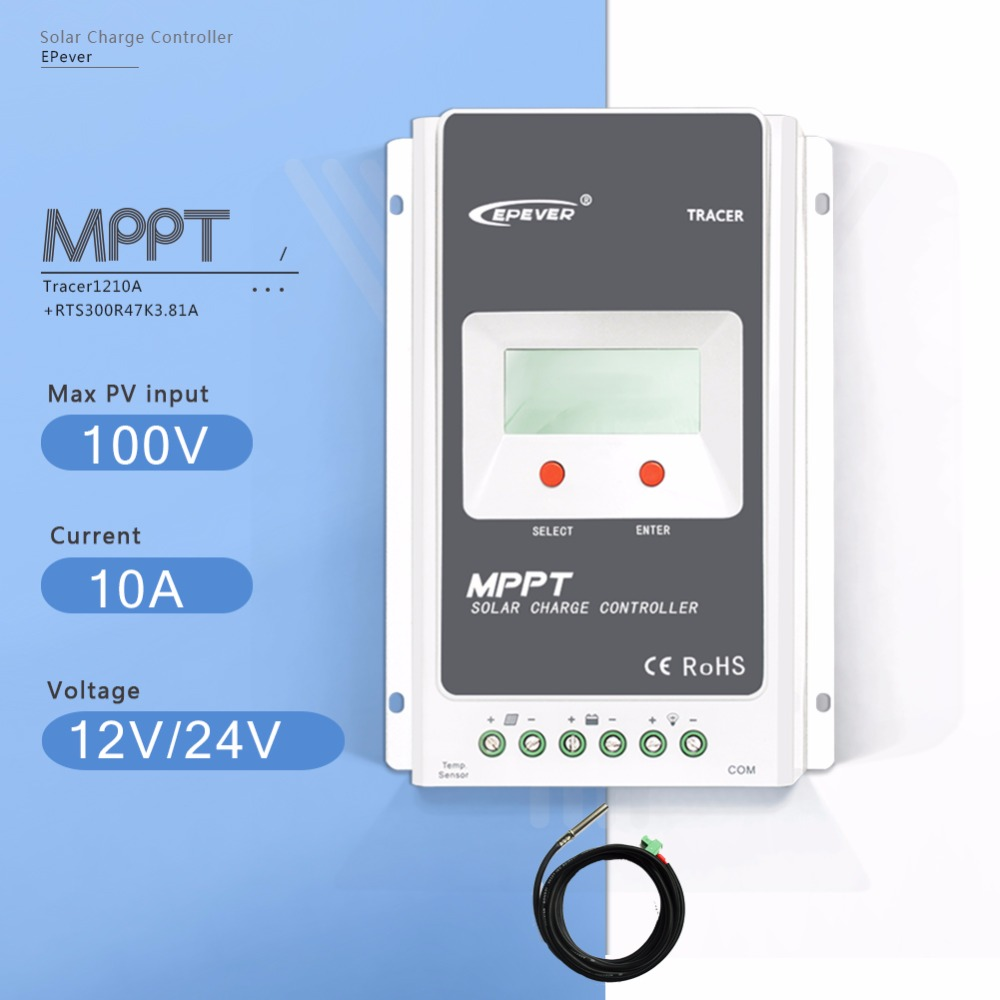 MPPT 10A Tracer 1210A LCD Solar Charge Controller 12V/24V Auto Light and Time Controller PV Regulator with Temperature Sensor