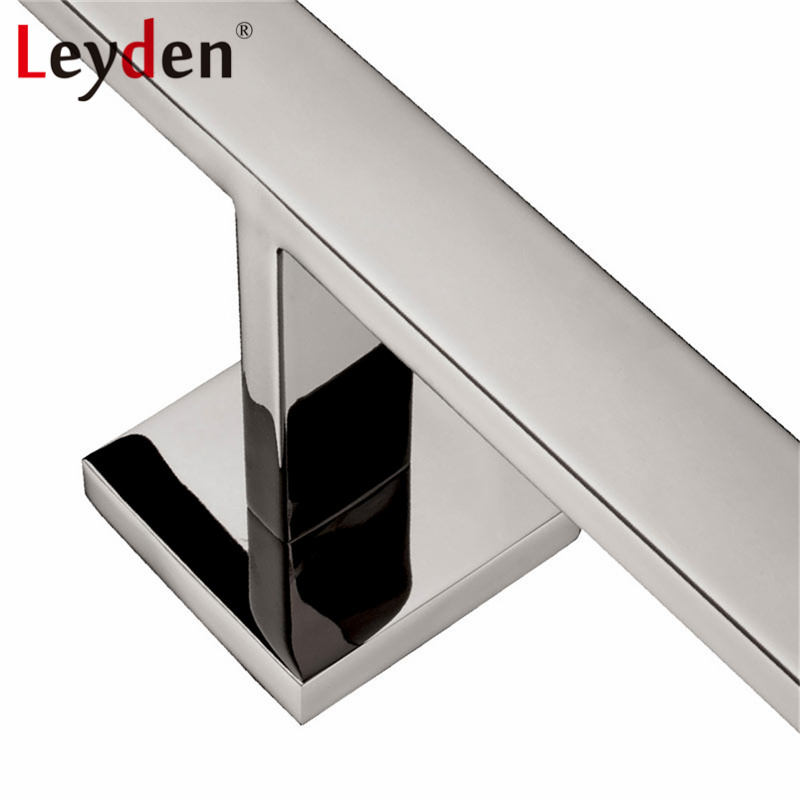 Leyden High Quality Stainless Steel Square Polished Chrome Towel Ring Wall Mounted Towel Rack Double Towel Bar Bathroom Hardware