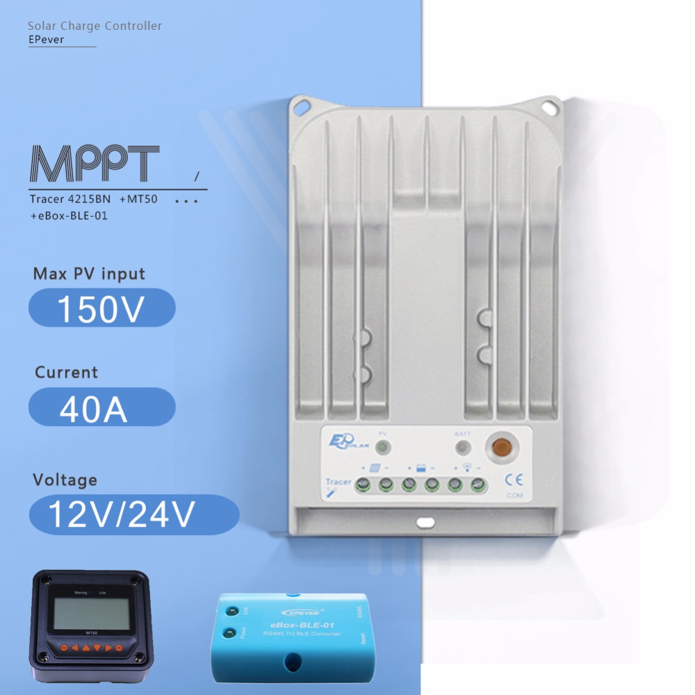 Tracer 4215BN 40A MPPT Solar Charge Controller 12V/24V Auto Solar Panel Battery Charge Regulator with EBOX-BLE and MT50 Meter