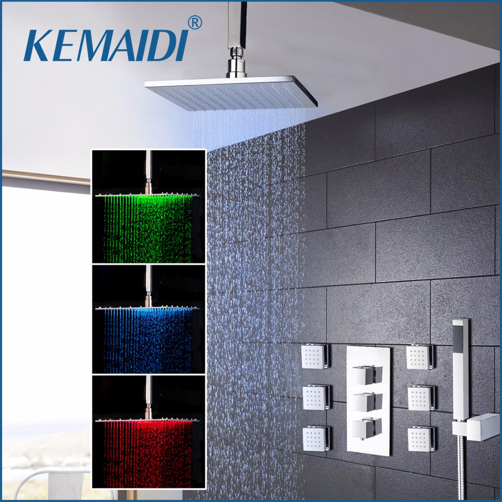 KEMAIDI New 8 Inch LED Shower Head Wall Mounted Square Style Brass Waterfall Shower Set Rainfall Bathroom Shower Kit Hand Shower