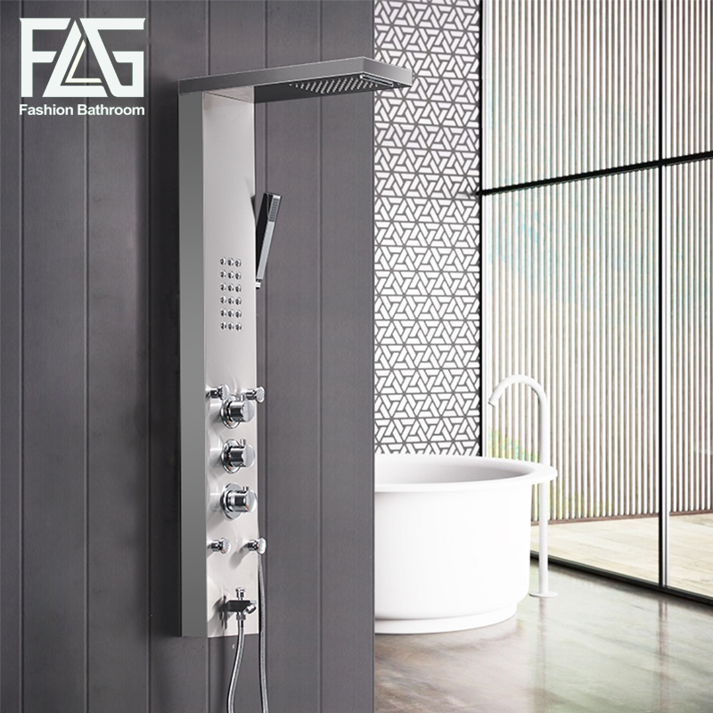 FLG 304SUS Bathroom Thermostatic Rain Shower Panel Brushed Nickel Shower Column Tub Jets Hand Shower Wall Panels