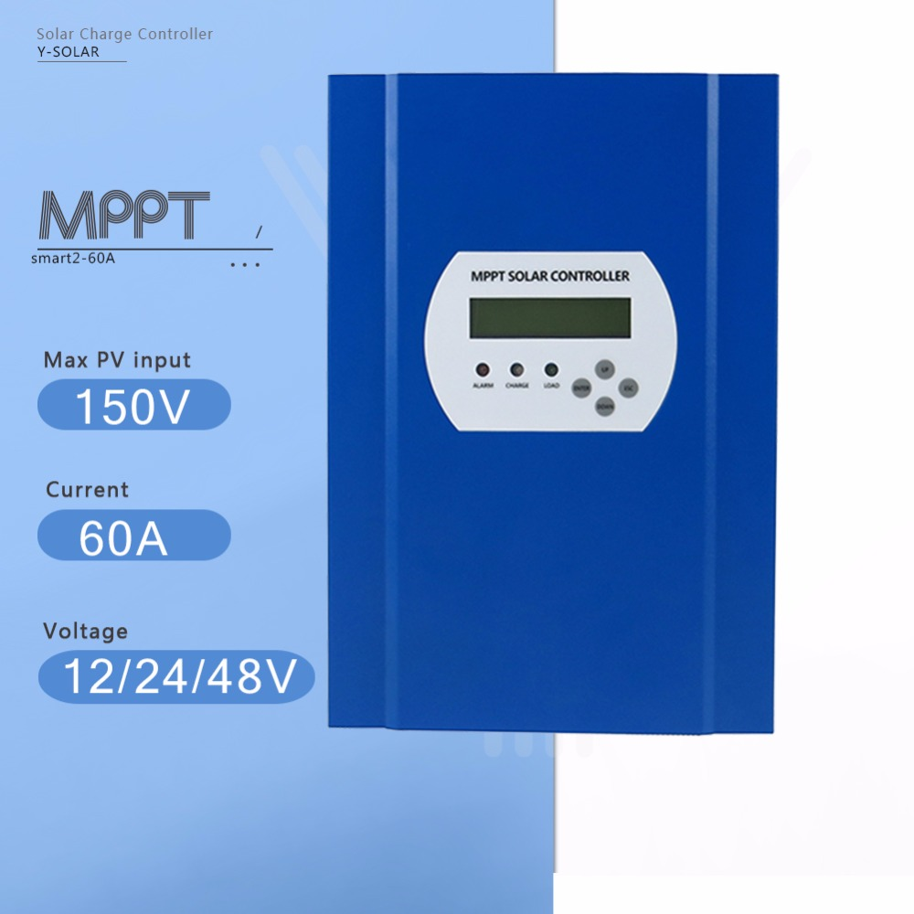 60A MPPT Solar Charge Controller 12V/24V/48V Auto Max 150V Unlimited parallel connection PV Regulator with LCD and LED Display