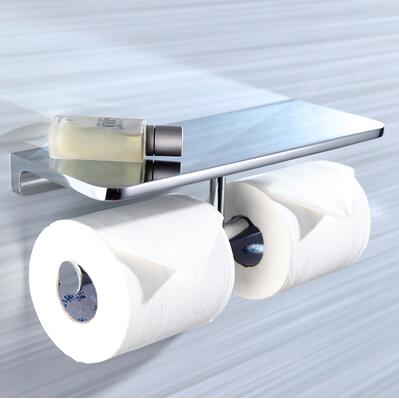 New top high quality solid Brass chrome Finish toilet paper holder bathroom mobile holder WC rod toilet paper holder