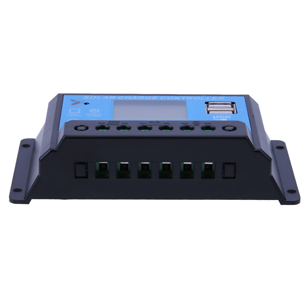 12/24V 10A USB Solar Regulator Charge Controller LCD Display Battery Protection Controller Home Electrical Equipment (Blue)