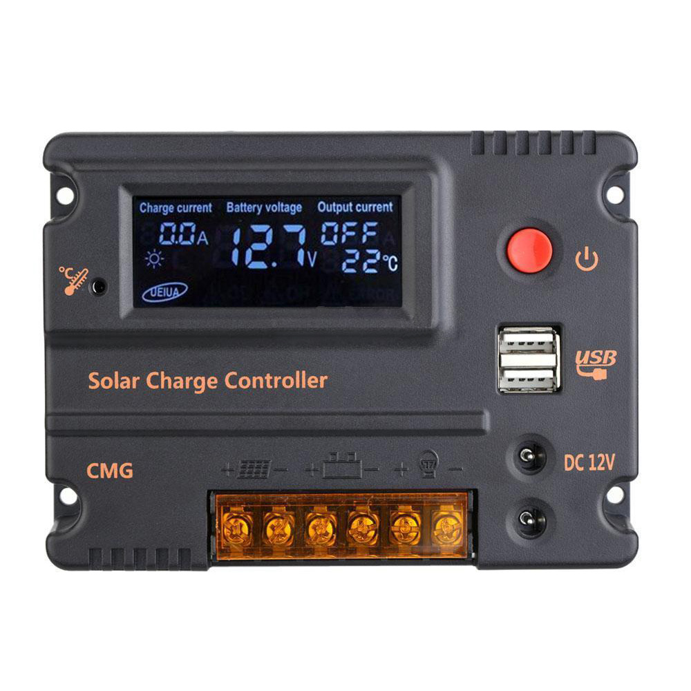 10A 12V 24V LCD Solar Charge Controller Panel Battery Regulator Auto Switch N5C5