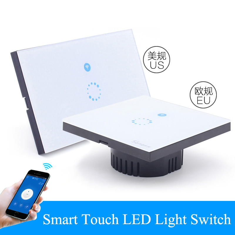 WiFi Wall Touch Light Switch 1 gang ON/Off Wireless Remote Control Timing Switch IOS Android Remote Home Automation