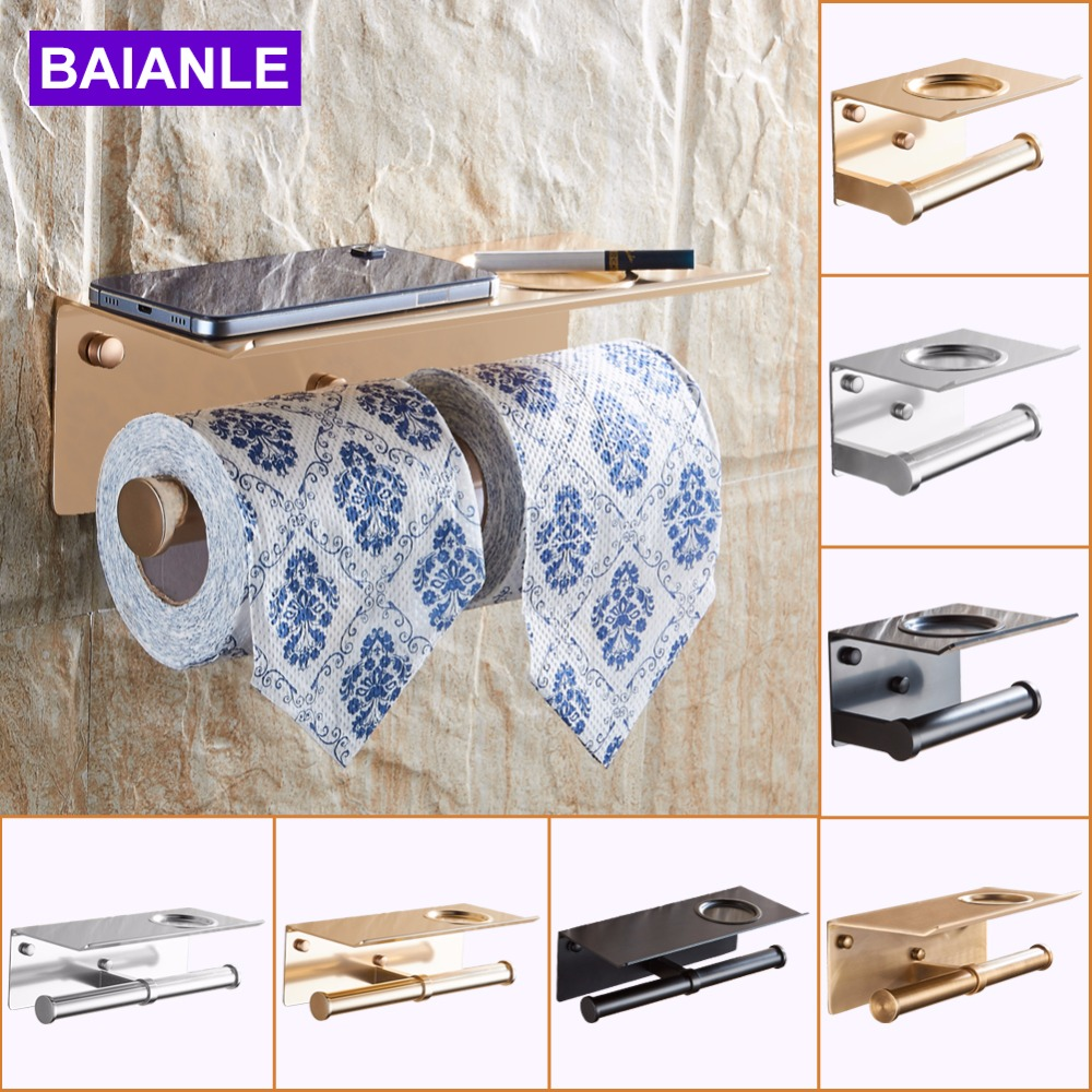 Wall Mounted Aluminum Black/Antique/Golden Paper Towel Shelf Phone Ashtray Suction Cup Toilet Roll Paper Holder