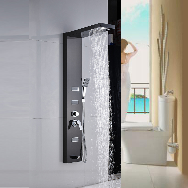 POIQIHY shower panel rainfall and waterfall shower head massage jets mixer  tub tap with handheld shower