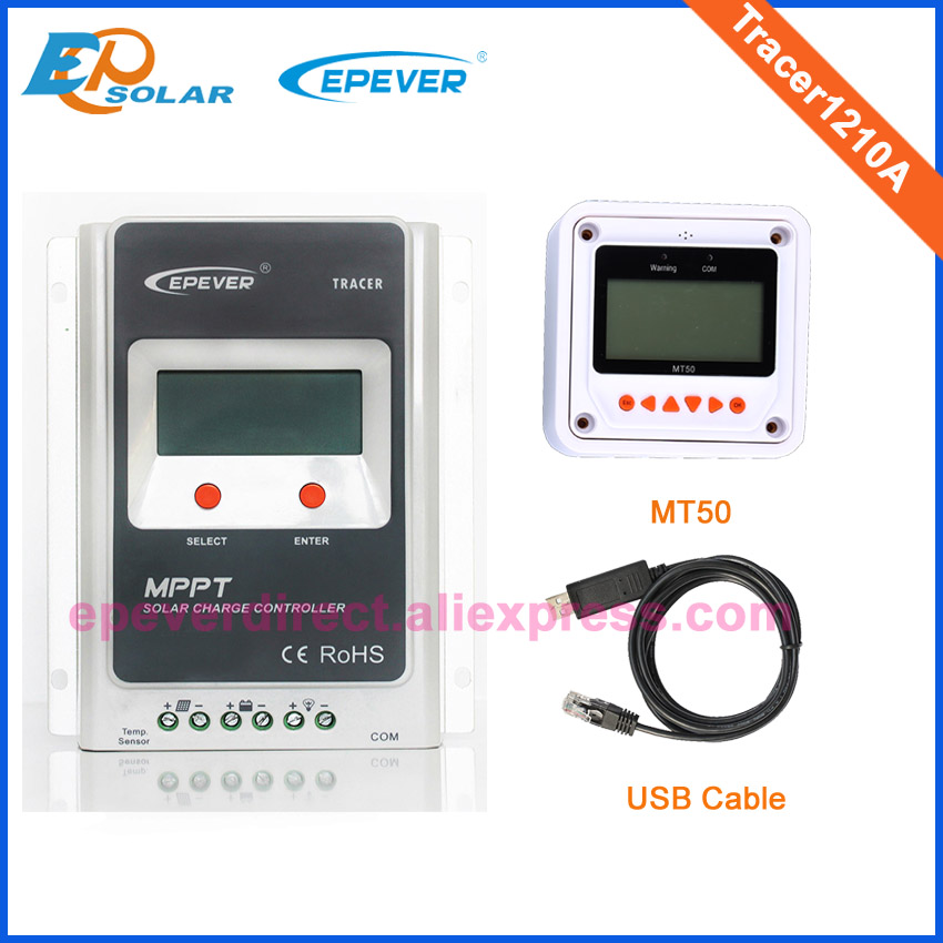 Battery micro home system regulator with MT50 in white USB cable connect+temperature sensor Tracer1210A 12v 24v