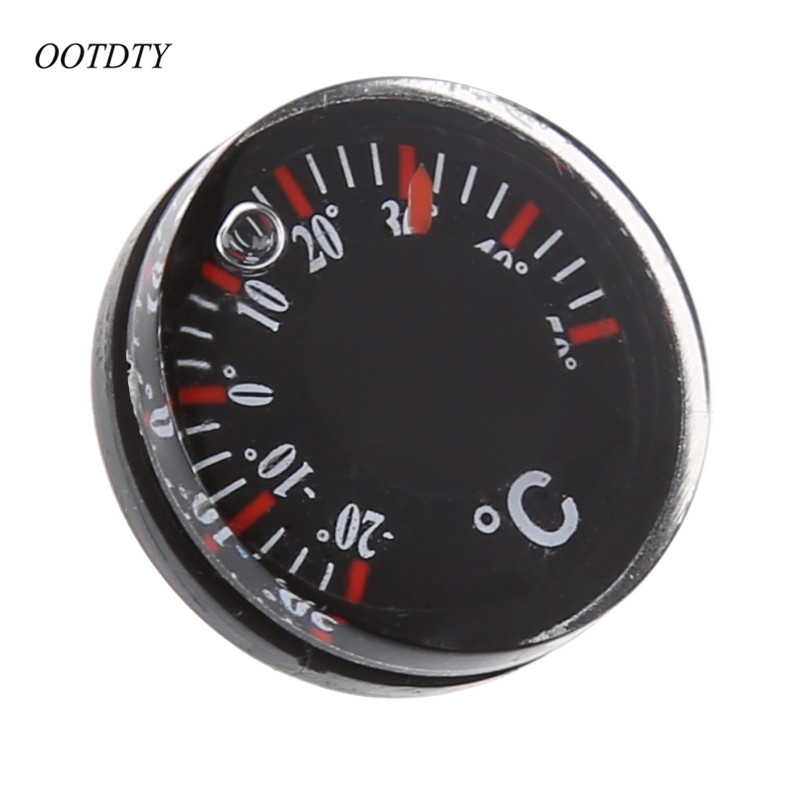OOTDTY Diameter 20mm Round Plastic Mini Thermograph Mini Spirit Circular Thermograph Celsius Hydrothermograph