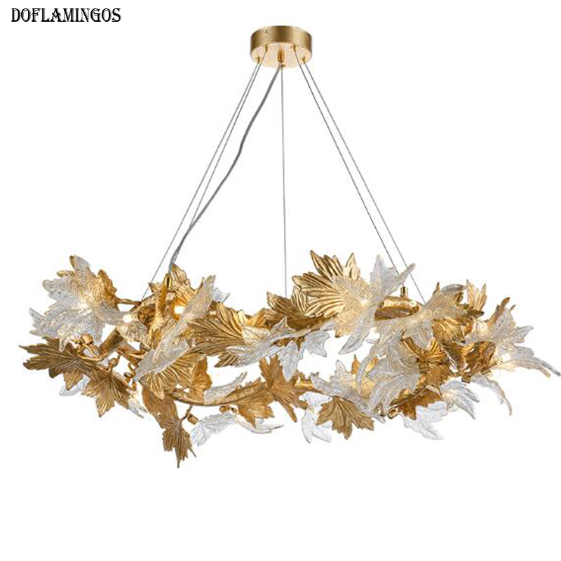 lustres contemporary copper crystal lamp living room lights French gold chandelier Advanced Villas castles showcase chandelier