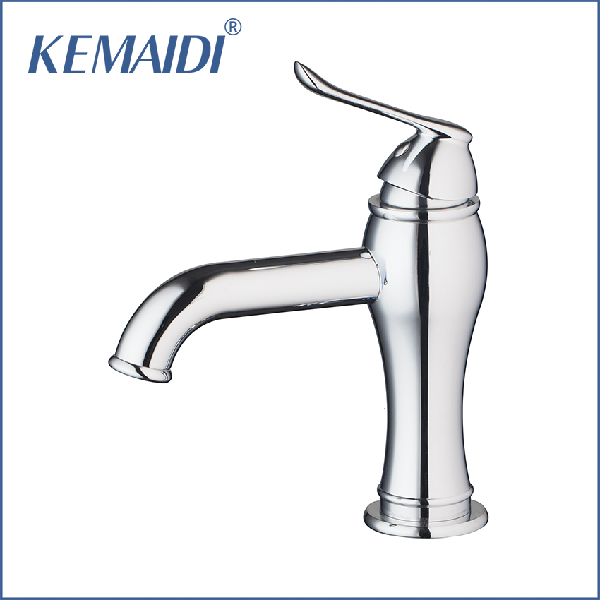 KEMAIDI Bathroom Mixer Deck Mounted Bathroom Basin Single Hole Sink Faucet Vessel Mixer Faucet Bathroom Faucets Chrome Finished